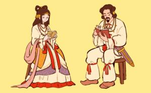 Caricaturas de Izanami e Izanagi